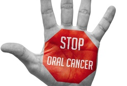 Stop oral cancer written on palm of hand