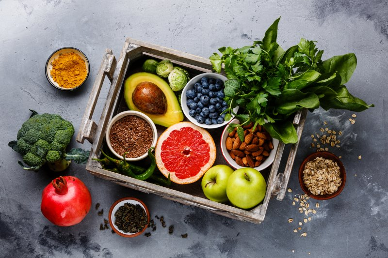 a table full of foods that benefit your oral health in Stephens City